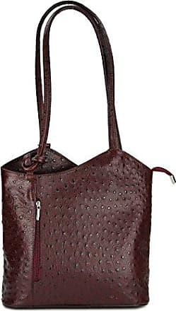 Ital. Leder Handtasche taupe Strauß Prägung, auch auf dem Rücken tragbar - 28x28x8 cm (B x H x T) Belli
