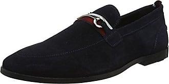Ben Sherman Charles, Zapatos de Cordones Brogue para Hombre, Azul (Navy Suede 020), 44 EU