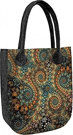 Damen Tasche Schultertasche Shopper Umhängetasche Handtasche Filztasche Grau Farbe Grau Bertoni O7q9i3XeX