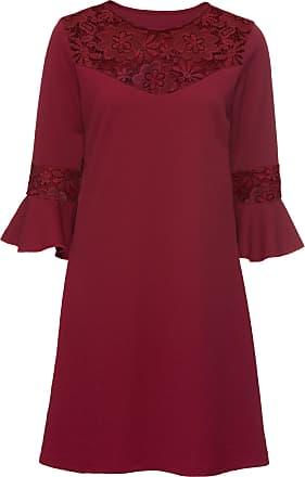 cd97617e i fra Jersey Bonprix rød arm bodyflirt blonder halv kjole med w0q0g7X