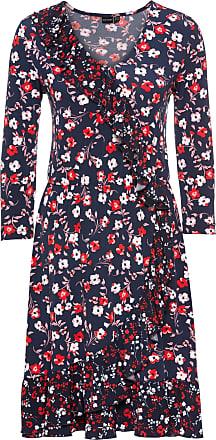 Kleid in Wickeloptik 3/4 Arm in blau von bonprix Bodyflirt