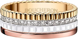 Boucheron Quatre Small Tricolor Gold & White Ceramic Ring, Size 53