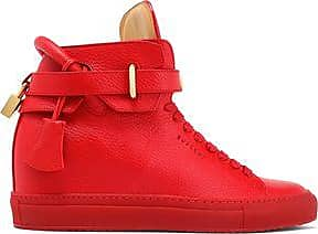 Buscemi Woman Embellished Metallic Snake-effect Leather High-top Sneakers Rose Gold Size 36 Buscemi 9WTaI