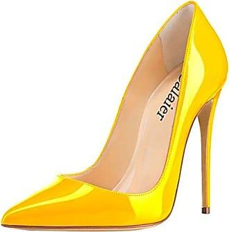 Damen Cahen 12CM Stiletto Schlüpfen Pumps Schuhe, Schwarz C, 36 Calaier