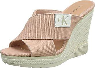 Calvin Klein Jeans Layla Canvas, Zapatos de Tacón con Punta Abierta para Mujer, Blanco (Ofw 000), 39 EU