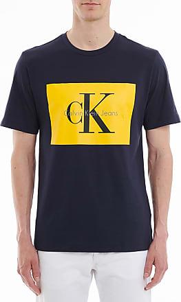 T-shirt à rectangle contrastant siglé Bleu Calvin KleinCalvin Klein Envoi Gratuit Dernières Collections Pas Cher Authentique lmyMQo