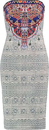 Camilla Woman Strapless Bead-embellished Printed Crepe De Chine Dress Ecru Size 10 Camilla ZOOKGu8BE