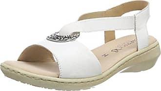 28213, Sandalias de Talón Abierto para Mujer, Blanco (White/Silver 191), 37 EU Caprice