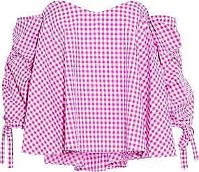 Caroline Constas Woman Off-the-shoulder Ruched Gingham Cotton Top Fuchsia Size M Caroline Constas Outlet Latest Sale Top Quality Deals wl9Giq63