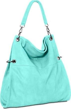 CASPAR Damen Henkel Tasche BENITA / Handtasche / Schultertasche / Messenger Bag - TS930, Farbe:türkis CASPAR Fashion