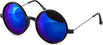 CASPAR Unisex Retro Sonnenbrille / Brille / Nickelbrille mit runden Gläsern bunt verspiegelt - viele Farben - SG021, Farbe:schwarz / gold verspiegelt