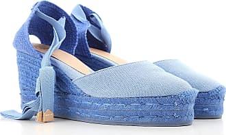 Cuñas para Mujer, Zapatos de Cuña Baratos en Rebajas, Azul Cielo, Lona, 2017, 35 36 37 38 40 41 Castaner