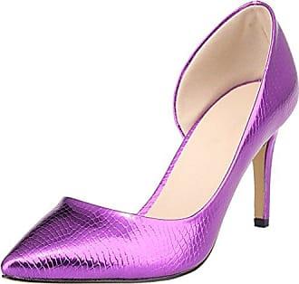 Damen Durchgängies Plateau Sandalen mit Keilabsatz, violett - violett - Größe: 35.5 CFP