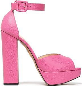 Charlotte Olympia Woman Eugenie Textured-leather Platform Sandals Mushroom Size 38 Charlotte Olympia RuPpEIqF