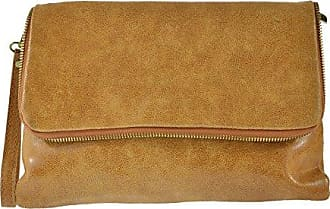 CTM Womans Hand Clutch in Saffiano Pattern, Adjustable Inner Shoulder Belt, genuine leather made in Italy - 29x20x9 Cm Chicca Tutto Moda