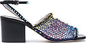 Christopher Kane Woman Suede-trimmed Bead-embellished Mesh Sandals Multicolor Size 40.5 l7rgsAo