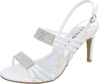Cingant Woman Damen Sandaletten/Peeptoe/Absatz/Sommerschuhe/Elegante Damenschuhe/High Heels/Weiß, EU 41