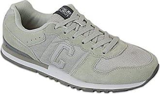 Herren Sportschuhe Crosshatch Sneakers Schuhe mit Schnürsenkel Wildleder Rennschuhe Netz Designer Neu - Leder und Stoff, 44, Grau - HADDEN