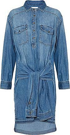 Current/elliott Woman The Twist Tie-front Denim Shirt Dress Mid Denim Size 2 Current Elliott khUM68p8