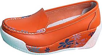 Leder mit Mustern Plateau Keilabsatz Loafers Slipper Freizeitschuhe (EU 36=ASIA 37, Weiß) Cystyle