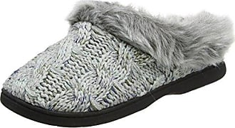Dearfoams Cable Knit Clog w/Space-Dye Accent, Zapatillas de Estar por Casa para Mujer, Negro (Black 00001), 36/37 EU