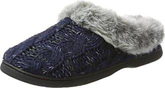 Dearfoams Cable Knit Clog w/Space-Dye Accent, Zapatillas de Estar por Casa para Mujer, Gris (Light Heather Grey 00071), 42/43 EU