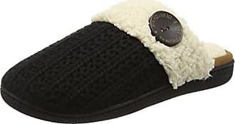 Dearfoams Cable Knit Closed Toe Scuff w/Plush Cuff, Zapatillas de Estar por Casa para Mujer, Negro (Black 00001), 38/39 EU