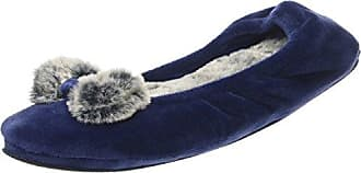 Dearfoams Velour Ballerina w/Frosted Pile, Zapatillas de Estar por Casa para Mujer, Azul (Peacoat 00498), 36/37 EU