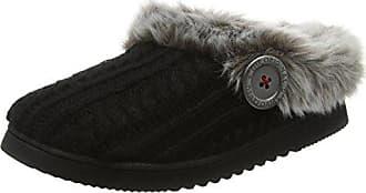 DearfoamsMicrofiber Terry Moccasin with Memory Foam - Zapatillas Bajas para Mujer, Color Negro (Negro 00001), Talla 42-43 EU (9-10 UK)