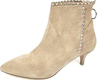 VogueZone009 Damen Mittler Absatz Gemischte Farbe Blend-Materialien Ziehen auf Stiefel, Cremefarben, 33
