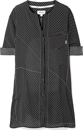 City Vibe Nachthemd Aus Vorgewaschenem Satin Mit Nadelstreifen - Schwarz DKNY