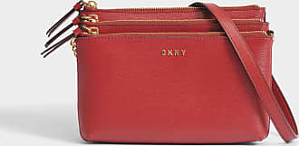 DKNY Sac Sutton Triple Zip Crossbody en Cuir Texturé Rouge 7a2DJJU
