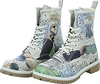 Dogo Damen Stiefel Happy Camping Schnürstiefelette Boots Landkarten Hot Chocolate Bunt rDKhiKg