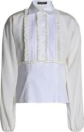 Dolce & Gabbana Woman Ruffled Pintucked Cotton-poplin Shirt White Size 42 Dolce & Gabbana Cheap Huge Surprise aMVtJu9FlP