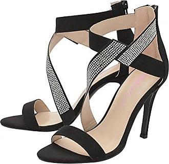 Damen Frauen Dolcis hoher Rückenlehne Knöchel Strap - Mittelklasse Heels Volle Toe - Schwarz / Burgund, Akt / Schwarz Black UK5 - EU38 - US7 - AU6
