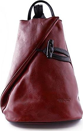 Damen Echtes Leder Rucksack Mit Träger Und Reißverschluss- Aniuk Farbe Blau Und Braun - Italienische Lederwaren - Rucksack Dream Leather Bags Made in Italy aXiHB1D