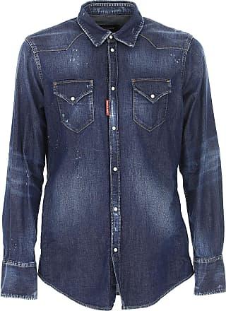 Shirt for Men On Sale, Denim Blue, Cotton, 2017, M - IT 48 XL - IT 52 Dsquared2