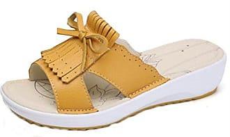 Easemax Damen Einfach Quadratisch Schleife Slipper Pantoffeln Gelb 38 EU xBdZ8gQzOb