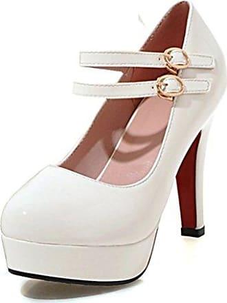 Easemax Damen Elegant Einfarbig Lack Low-Cut Plateau High Heels Pumps Weiß 37 EU GqpEZ