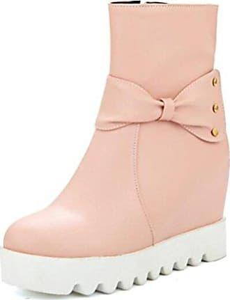 SHOWHOW Damen Metallic Strass Profilsohle Stiefeletten Mit Anhänger Pink 41 EU L2rk3P9msl