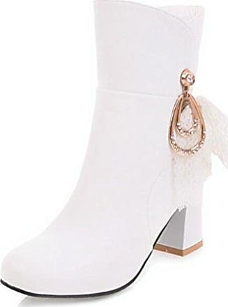 Easemax Damen Elegant Spitze Zehe Metall Nieten Kurzschaft Stiefel Mit Absatz Weiß 46 EU tCwTOGQAWQ