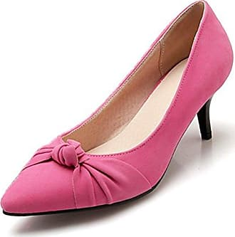 SHOWHOW Damen Schleife Blume Low Top Kitten Heel Pumps Pink 41 EU 3KGBOHUhA
