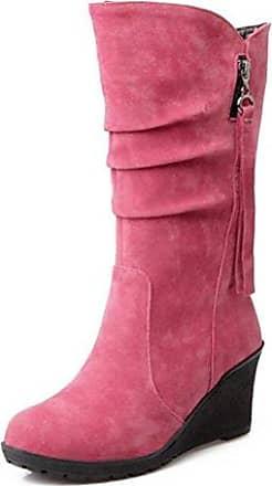 SHOWHOW Damen Nubuk Klassisch Stiefelette Langschäfter Schaftstiefel Mit Stiletto Pink 35 EU Fm02KD5