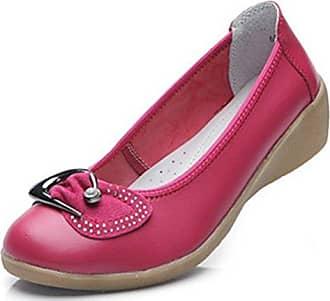 SHOWHOW Damen Perle Rund Zehe Slipper Halbschuh mit Absatz Pink 37 EU DOCcgPT8Y