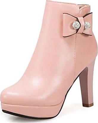 SHOWHOW Damen Schleife Perle Knöchelhohe Stiefel Mit Absatz Pink 39 EU fJcGTMe