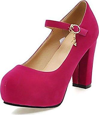 Easemax Damen Strass Pointed Toe Knöchelriemchen Blockabsatz Pumps Pink 39 EU 9EE63XcR42