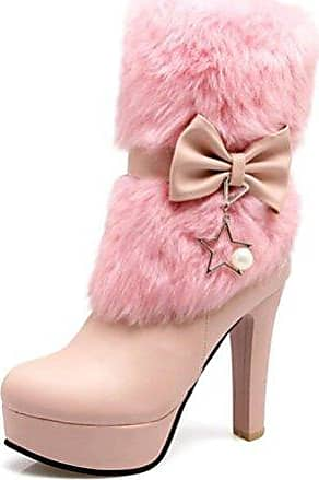 SHOWHOW Damen Süß Schleife High Heels Blockabsatz Kurzschaft Stiefel Pink 35 EU J1MbHBUe
