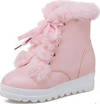 Easemax Damen Modisch Dick Sohle Glitzer Kunstfell Kurzschaft Stiefel Mit Erhöht Pink 34 EU Cw8lHy