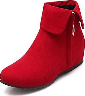 SHOWHOW Damen Runde Zehe Köchel Hoch Stiefel Mit Blockabsatz Rot 40 EU TlUUWWPc