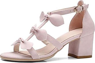 SHOWHOW Damen Glitzer Paillette Peep Toe T-Straps Sandalen mit Absatz Gold 34 EU Y3NUDv